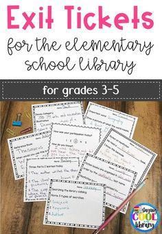 Exit Tickets for the Elementary School Library. Grades Exit tickets provide a quick way to chec School Library Lessons, Library Lesson Plans, Elementary School Library, Library Skills, I School, Elementary Schools, School Library Decor, School Library Displays, Library Inspiration