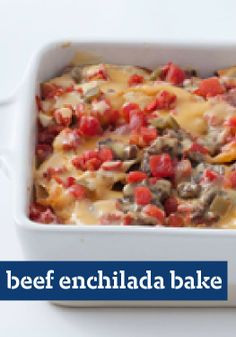 Beef Enchilada Bake — Tortillas are layered, not rolled, in a casserole of ground beef, VELVEETA and tomatoes. That's the trick to an enchilada dish with a 20-minute prep time.