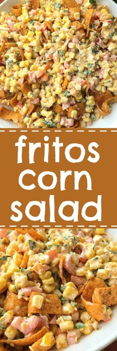 Fritos corn salad will be one salad that no one will forget! Loaded with corn vegetables a creamy spiced dressing and an entire bag of Fritos Chili Cheese corn chips. So many flavors and textures. It's the perfect salad for a BBQ picnic or a potluck. Corn Salad Recipes, Corn Salads, Veggie Recipes, Mexican Food Recipes, Cooking Recipes, Cold Corn Salad, Bbq Salads, Picnic Recipes, Picnic Foods