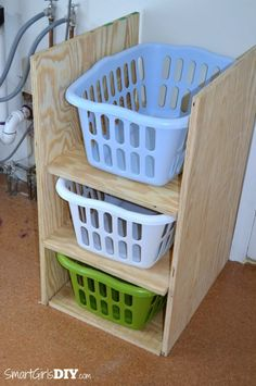 How to build laundry basket shelves ive seen these a lot and it before building the laundry basket shelf make sure your dimension work for your baskets solutioingenieria Image collections