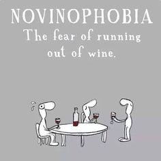 NOVINOPHOBIA = The fear of running out of wine. :)