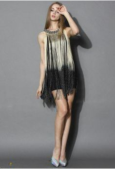 Swinging Ombre Tassel Dress in Gold - Retro, Indie and Unique Fashion