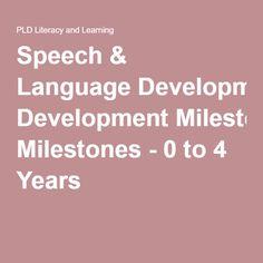 Speech & Language Development Milestones - 0 to 4 Years