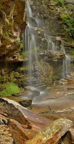 A seasonal waterfall in Emerald Pools - Zion National Park, Utah Most Visited National Parks, Us National Parks, Zion National Park, Oh The Places You'll Go, Places To Travel, Places To Visit, Beautiful Waterfalls, Beautiful Landscapes, Parque Natural