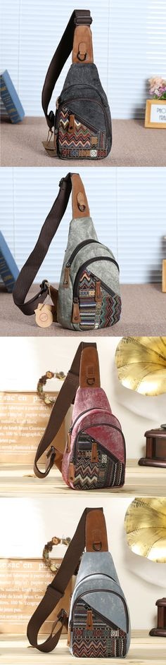 83c3666c425f  US 36.73 Brenice Vintage Floral Canvas Casual Crossbody Sling Bag Chest Bag  For Women