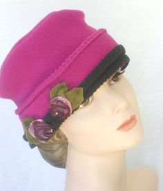 Basic Fleece Hat with French Ribbon Roses  Persian by hatjunkie, $60.00