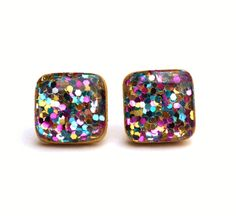 Rainbow glitter studs Rainbow glitter square studs earrings wood earrings eco fashion eco friendly unique gift for her by starlightwoods on Etsy https://www.etsy.com/listing/213358106/rainbow-glitter-studs-rainbow-glitter