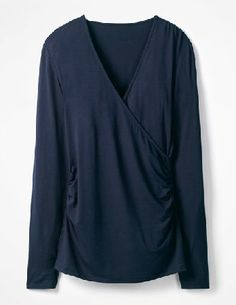 #Boden Long Sleeve Wrap Top Navy Women Boden, Navy #Meet your favourite fitted wrap top, made from a sculpting viscose elastane thats designed to highlight your best bits. Flattery really does get you everywhere.