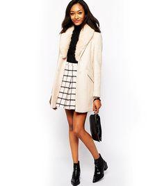 Warehouse Tweed Faux Fur Collar Coat