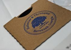 Our CD favors #Navy blue #Savannah #wedding #oaktree #favors #CD custom #rubberstamp