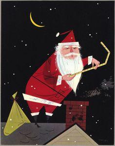 Illustration by Charley Harper Noel Christmas, Vintage Christmas Cards, Retro Christmas, Vintage Holiday, Xmas, Christmas Classics, Christmas Jingles, Christmas Things, Father Christmas