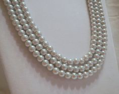 1920s Pearl Necklace, Vintage Inspired Necklace, Multistrand Pearl Necklace