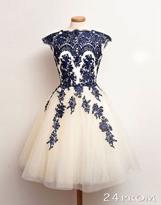 A-line Lace Short Prom Dresses, Homecoming Dress, Bridesmaid Dress – 24prom #prom #homecoming #dress #evening #promdresses #homecomingdress