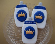 Baby Prince Bottle Cookie with a Crown 12 by NYCookiesByVictoria