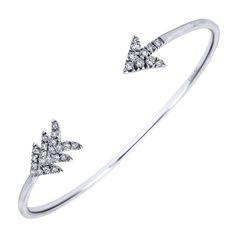 925 Silver White Sapphire Cuff Bangle   Gabriel & Co NY   BG3560SVJWS