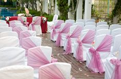 Tulle Decorations For Wedding Chairs. Not necessarily pink, but I like the idea. Tulle Decorations, Church Wedding Decorations, Wedding Church, Wedding Reception, Wedding Aisles, Wedding Sash, Decor Wedding, Diy Wedding, Chair Ties
