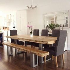 Buy modern and vintage dining tables in City of Montréal - harvest, round or kitchen tables and other dining room furniture available on Kijiji, Canada's Local Classifieds. Dining Room Furniture, Dining Room Table, Home Furniture, Rustic Table, Interior Design Living Room, Room Decor, Barn Wood, Girls Dresses, Architecture