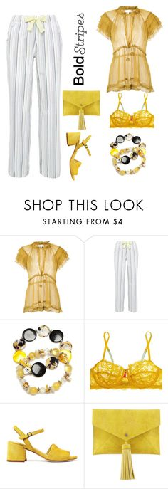 """""""Stripes and yellow"""" by subvilli ❤ liked on Polyvore featuring Lee Mathews, Kim Rogers, Elle Macpherson Body, Neiman Marcus, yellow and stripedpants"""