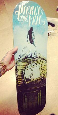 Pierce the Veil Skateboard Design Skateboard Design, Skateboard Decks, Skates, Sleeping With Sirens, Skate Decks, Falling In Reverse, Longboarding, Black Veil Brides, Pierce The Veil