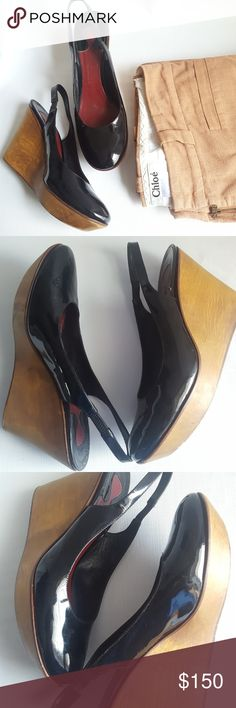 CHLOE Black Patent Leather Slingback Wooden Wedge Amazing totally vamped wooden wedge, slimgback patent leather pumps. In excellent preloved condition.  Size 39.5 Chloe Shoes Wedges