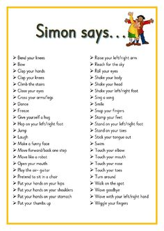 Simon says. Printable ideas for playing Simon Says. Great for Brain Breaks Preschool Songs, Preschool Learning, Kids Songs, Learning Activities, Baby Activities, Physical Activities For Kids, Circle Time Activities, Circle Time Ideas For Preschool, Kindergarten Songs
