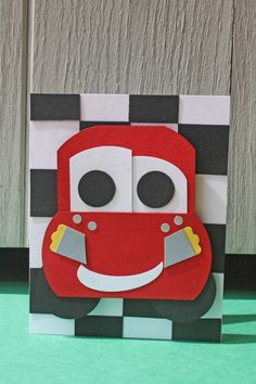 Lightning McQueen Handmade Card  Cars by HootandTootsLoot on Etsy, $6.50