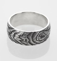 woodgrain ring PLYWOOD faux bois sterling silver by ballandchain, $90.00