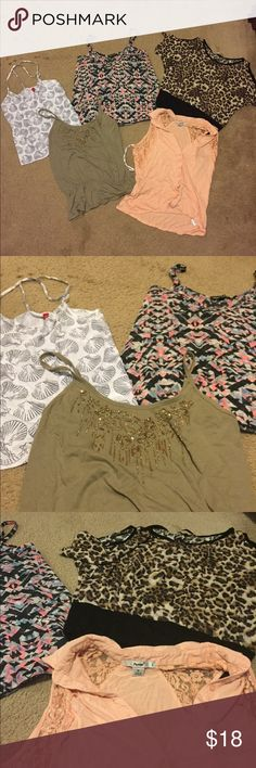 "5 shirt/tank bundle! All fit about like a S/XS. Wrinkled from storage. Mostly target and Papaya brand. Cheetah print is a ""cold shoulder"" style. Make me an offer! Papaya Tops Tank Tops"