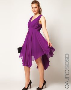 Asos Curve Chiffon Dress with Gathered Skirt in Purple (grape) - Lyst