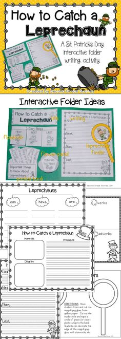 $ - a fun way to write about how to catch a leprechaun; interactive folder activity and writing piece - fun leprechaun finder, too!