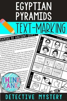 With their Egyptian Pyramids Reading Passage in hand, students will move around the classroom answering questions, playing detective and finding clues to the case. This Text-Marking Detective Mystery has students using their reading passage multiple times searching for evidence to each of the 18 questions. For upper elementary or middle school. #Pyramids #ThinkTank #AncientEgypt #HomeSchool #ReadingPassages #4thgrade #5thgrade #6thgrade #MiddleSchool #UpperElementary #TeachersPayTeachers 4th Grade Social Studies, Social Studies Activities, History Activities, Classroom Activities, Holiday Activities, Reading Activities, Reading Skills, Science Activities, Ancient Greece
