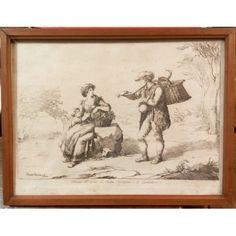 """Incisione """"Donna del paese di Pietra Ferrazana e il Gioncalaro"""" realizzata da Bartolomeo Pinelli nel 1809, a Roma."""