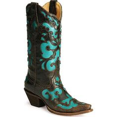 womens square toe inlay cowboy boots | Corral women's turquoise inlay western boots - snip toe | ThisNext