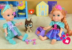 Elsa and Anna Puppy-Sitting - Rapunzel's Dog Gets Hurt! Annya and Elsya ...