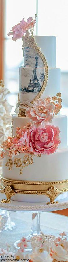 Incorporate your flowers into your Parisian wedding cake! Beautiful Wedding Cakes, Gorgeous Cakes, Pretty Cakes, Cute Cakes, Amazing Cakes, Cake Wedding, Wedding Ceremony, Parisian Cake, Parisian Wedding