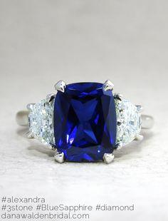 Alexandra 3 Stone Engagement Ring - Lab Created Blue Sapphire, Half Moon Diamonds - Engagement Ring – Dana Walden Bridal :: Engagement Ring Designers - NYC