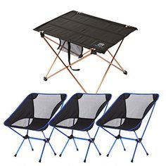 Ultralight Portable Folding Camping Table with Moon Leisure Camping Chair for Beach Picnic Camp Patio Fishing Hiking Indoor Outdoor  Dark Blue  1 desk  3 chair * Continue to the product at the image link.(This is an Amazon affiliate link and I receive a commission for the sales)