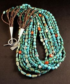 9-Strand Mixed Turquoise Necklace with Olive Shell Heishi, Apple Coral, Pewter and Sterling Silver
