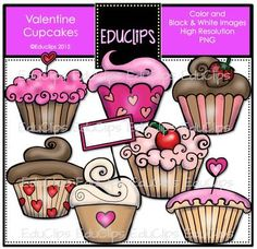 FREE Valentine Cupcakes Clip Art Bundle from Educlips on TeachersNotebook.com - (14 pages) - FREE Valentine Cupcakes Clip Art Bundle