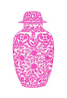 Hot Pink Ming Chinoiserie Ginger Jar on White 11x14 Giclee