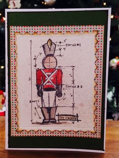 Christmas card using Tim Holtz Christmas Blueprint stamp set and Postage Stamp die