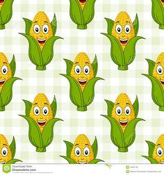 Teste Padrão Sem Emenda Da Espiga De Milho Dos Desenhos Animados Ilustração do Vetor - Imagem: 44251181