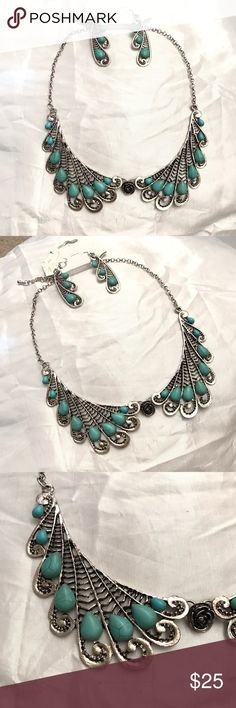 Silver and Turquoise Necklace and Earrings set! Beautiful silver and turquoise necklace and earrings set. New! Sits beautifully on chest. Jewelry Necklaces
