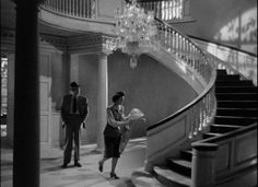 """Ray Milland and Ruth Hussey checking out their new home in """"The Uninvited,"""" Scary Movies, Old Movies, Vintage Movies, Ruth Hussey, Haunted Movie, The Uninvited, Lawrence Of Arabia, Still Frame, American Decor"""
