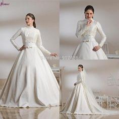 New Style White Muslim Wedding Dress Ball Gown High Neck Long Sleeve Muslim Bridal Wedding Dress