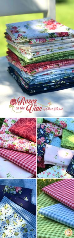 Roses On The Vine is a beautiful floral collection by Marti Michell for Maywood Studio Fabrics available at Shabby Fabrics