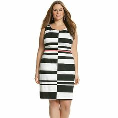 Black and white graphic dress BRAND NEW. NEVER BEEN WORN. Black and white graphic dress with a pop color belt. Made of cotton/spandex. Length 42.5 inches. Lane Bryant Dresses Midi