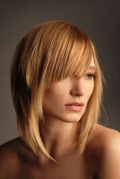 Hairstyles and haircuts for thin fine hair, haircut for thin hair with long asymmetrical bang