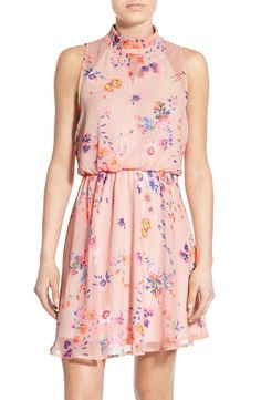 Sienna Sky Floral Print Mock Neck Skater Dress