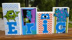 Monsters Inc Personalized Wood Name Blocks- Nursery name Boy Blocks Girl Blocks Nursery decor Baby Blocks Kids decor Gifts